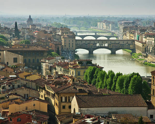 Horizontal Poster featuring the photograph Florence. View Of Ponte Vecchio Over River Arno. by Norberto Cuenca