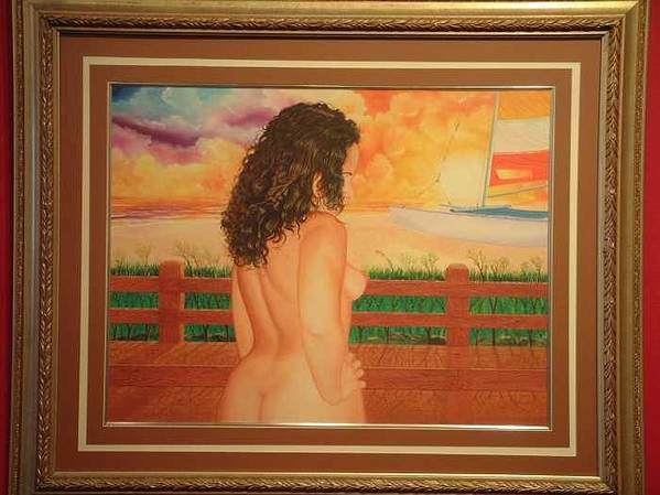 Nudes Poster featuring the painting Florida Dreams by Benito Alonso