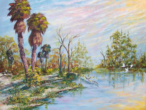 Landscape Poster featuring the painting Florida Forgotten by Dennis Vebert