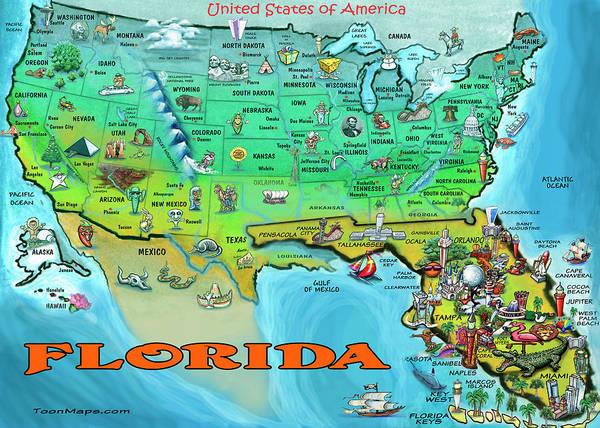 Florida In Usa Map.Florida Usa Cartoon Map Poster