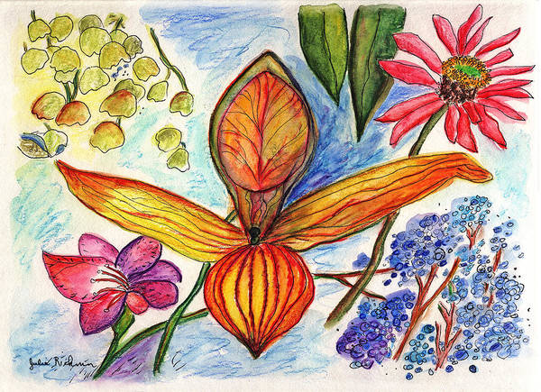 Nature Poster featuring the painting Flower 73 by Julie Richman