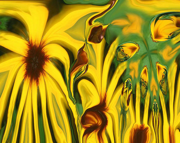 Abstract Poster featuring the photograph Flower Fun by Linda Sannuti
