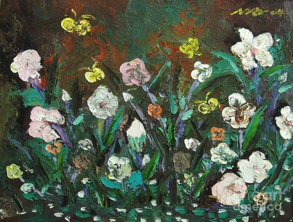 Abstract Paintings Poster featuring the painting Flower Garden by Seon-Jeong Kim