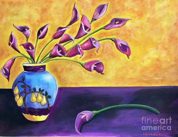 Flowers Blue Vase Poster featuring the painting Flowers In Blue Vase by Judy Sanchez Morris