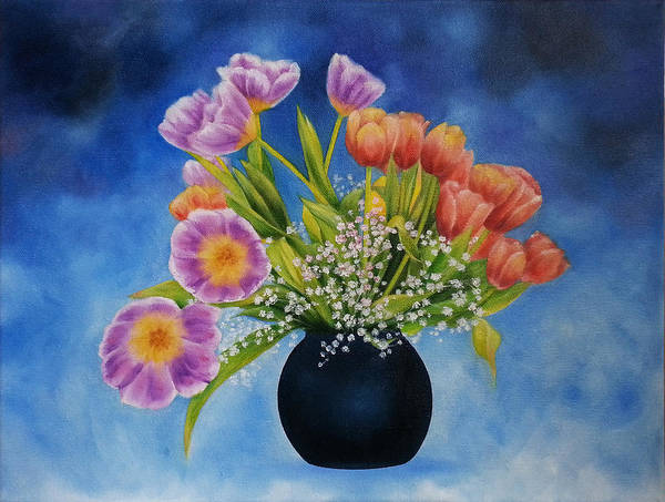 Flowers Poster featuring the painting Flower Still Life by Kathleen Wong