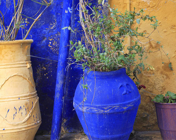Greece Poster featuring the photograph Flower Pots In Crete by Steve Outram