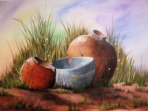 Still Life Landscape Clay Pot Broke Desert Exotic Flower Floral Sand Mexico Grass Purple Blue Green Poster featuring the painting Flower Pots by Sherry Winkler