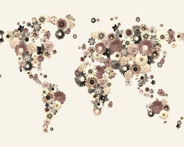 World Map Poster featuring the digital art Flower World Map Sepia by Michael Tompsett