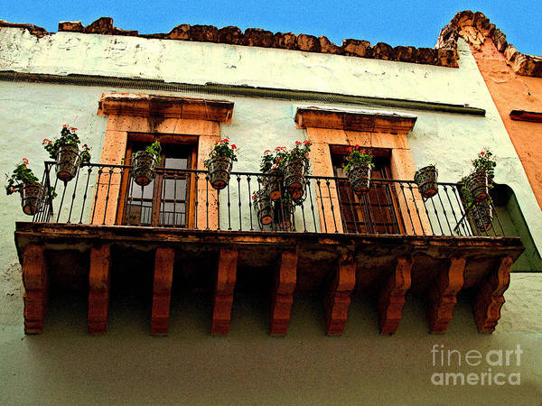 Darian Day Poster featuring the photograph Flowered Balcony by Mexicolors Art Photography