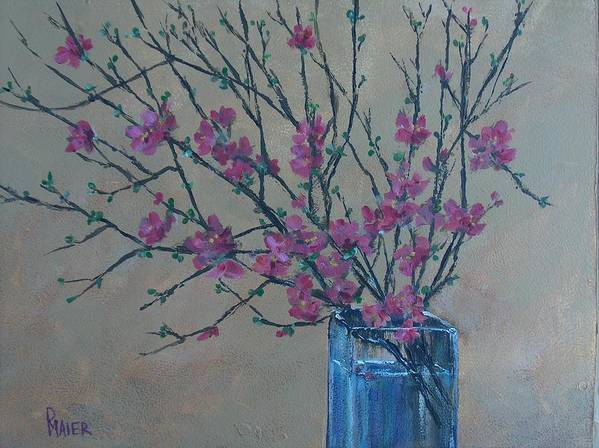 Flowers Poster featuring the painting Flowering Quince by Pete Maier