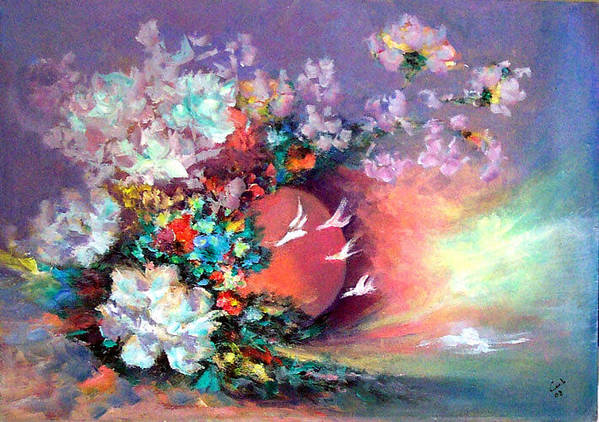 Poster featuring the painting Flowers 02 by Lamis Dachwali