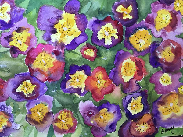 Floral Poster featuring the painting Pansy Party by Bonny Butler