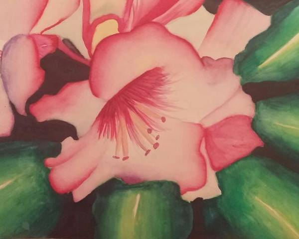 Pink Flowers Poster featuring the painting Flowers by Alexius Brown