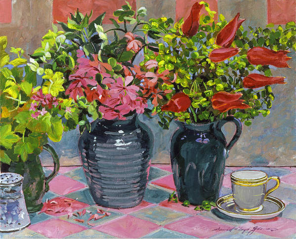 Still Life Poster featuring the painting Flowers And Pitchers by David Lloyd Glover