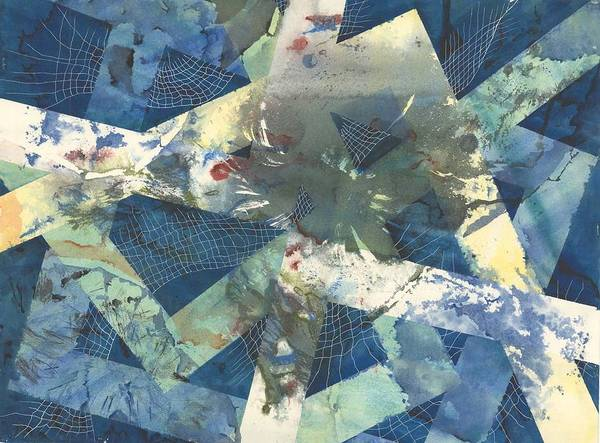 Abstract Poster featuring the painting Flowers Lost In Angles by Beena Samuel