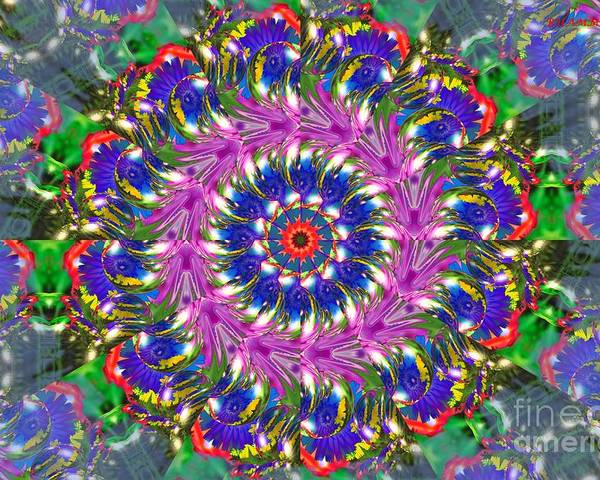 Colorful Poster featuring the mixed media Flowers Of The Mind Number 2 Peacock Feathers by Bobby Hammerstone