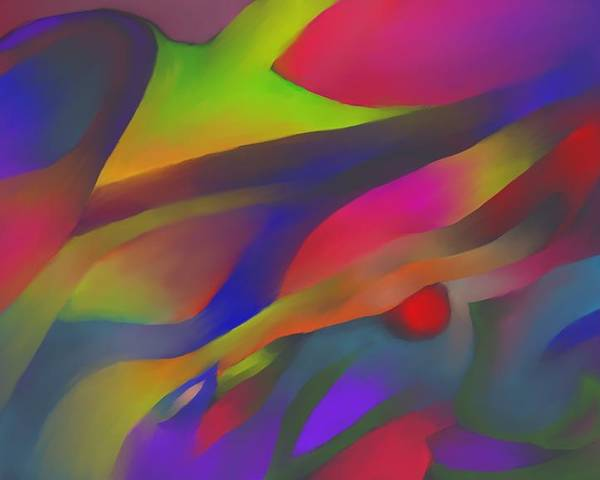 Colorful Poster featuring the digital art Flowing Energies by Peter Shor