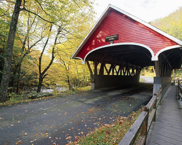 Architecture Poster featuring the photograph Flume Bridge Lincoln New Hampshire by George Oze