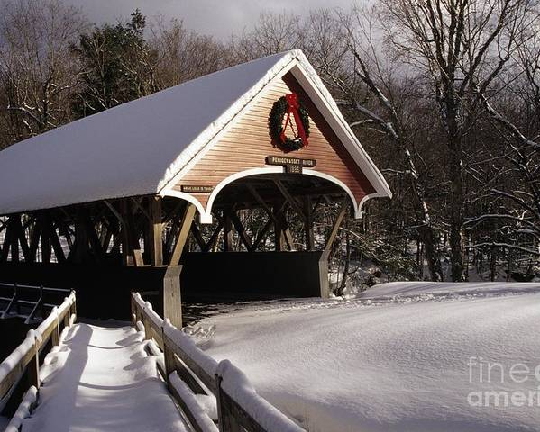 Franconia Notch State Park Poster featuring the photograph Flume Covered Bridge - Lincoln New Hampshire Usa by Erin Paul Donovan