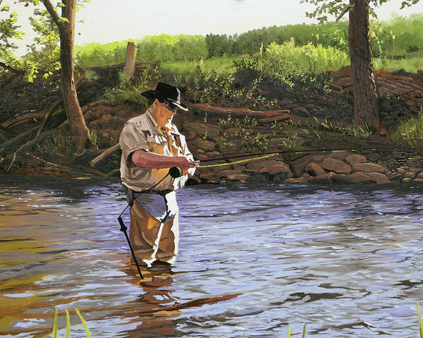 Fisherman Poster featuring the painting Fly Fisherman by Kenneth Young
