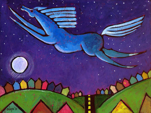 Night Poster featuring the painting Fly Free From Normal by Angela Treat Lyon