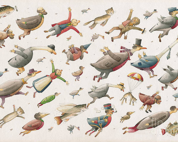 Sky Birds Flying Airplane Poster featuring the painting Flying by Kestutis Kasparavicius