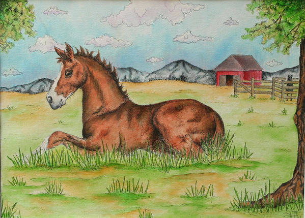 Horse Poster featuring the painting Foal In Grass by Jodi Bauter