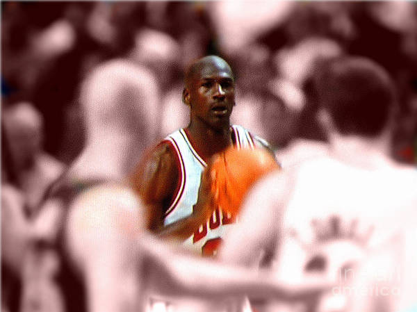 Michael Jordan Poster featuring the digital art Focus by Brandon Ramquist