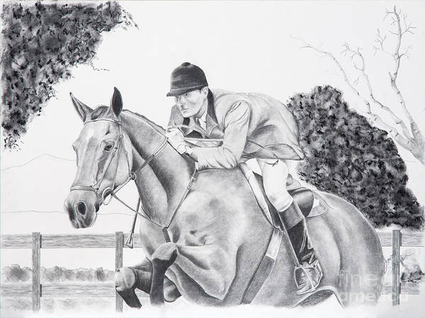 Dressage Poster featuring the drawing Focused by Joette Snyder