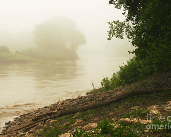 Red River Poster featuring the photograph Fog Along The Red by Steve Augustin