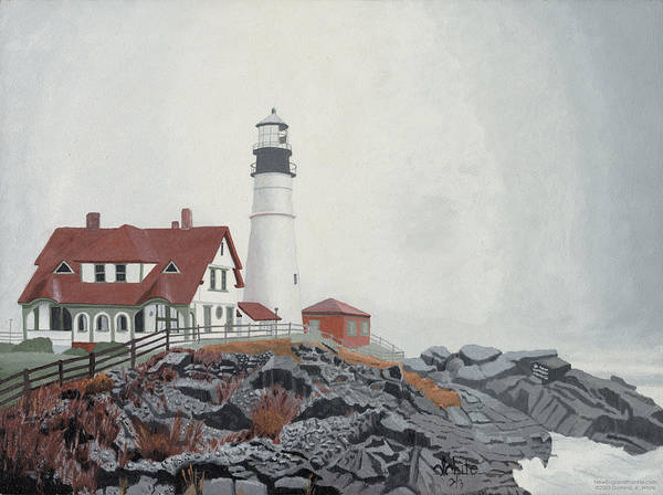 Lighthouse Poster featuring the painting Fog Approaching Portland Head Light by Dominic White