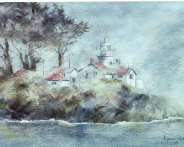 Lighthouse Poster featuring the painting Fog At Batterypoint Lighthouse by Lynne Parker