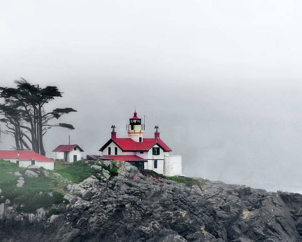 Battery Point Lighthouse Poster featuring the photograph Fog Comes Rolling In - Battery Point Lighthouse - Crescent City Ca by Christine Till