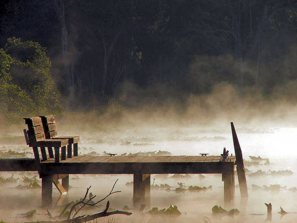 Water Poster featuring the photograph Fog On Lake Jeffords by Judy Waller