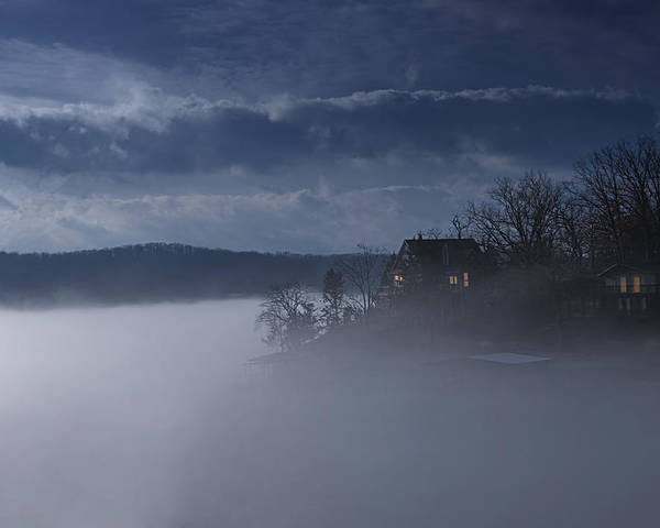 Lake Poster featuring the photograph Fog On The Lake - Dawn At The Lake Of The Ozarks, Missouri by Mitch Spence