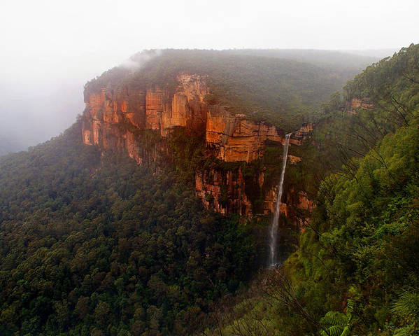 Fog Poster featuring the photograph Fog Sunrise And Waterfalls by Martin Massari