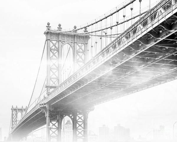 Manhattan Bridge Poster featuring the photograph Fog Under The Manhattan BW by Az Jackson