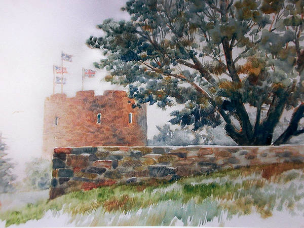 Painting;fog;landscape;maine;tree;stone Wall;flags;fortress; Poster featuring the painting Foggy Morning In Maine by Don Getz
