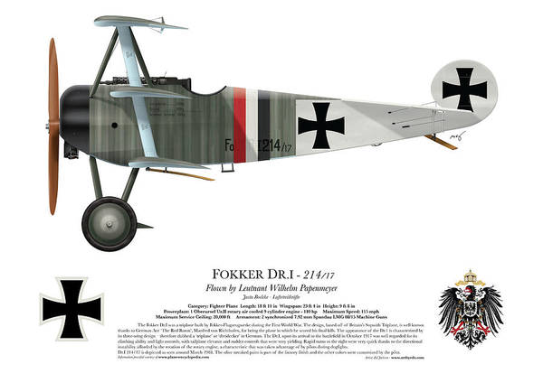 Fokker Poster featuring the digital art Fokker Dr.1 - 214/17 - March 1918 by Ed Jackson