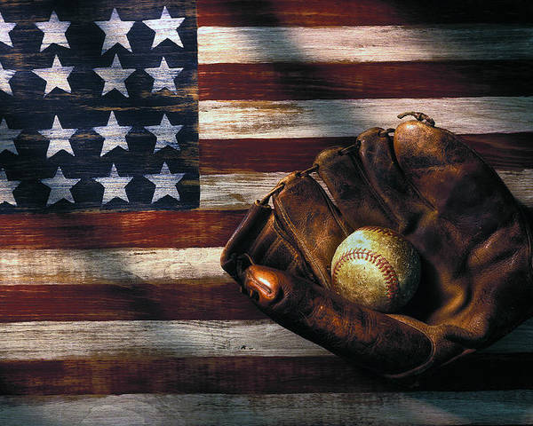 Folk Art American Flag Poster featuring the photograph Folk Art American Flag And Baseball Mitt by Garry Gay