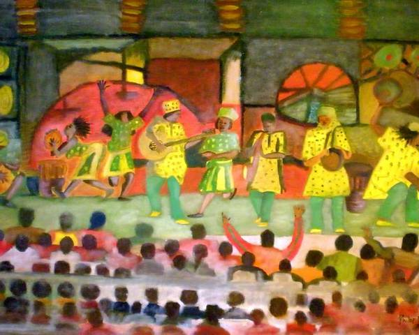 Musicians Poster featuring the painting Folk Play by Philip Okoro