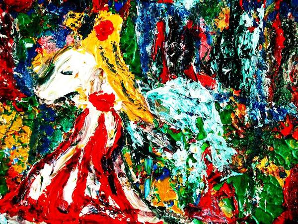 Figurative Surrealist Expressionism Conceptual Abstract Portrait Landscape Dance Love Poetry Nature Poster featuring the painting Folklore. by Carmen Doreal