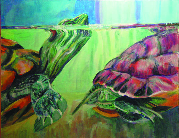 Turtles Poster featuring the painting Following by Gail Wartell
