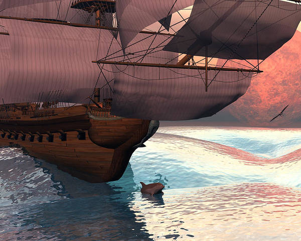 Bryce 3d Scifi Fantasy  Dolphin tall Ship Windjammer \sailing Ship\ Sailing Poster featuring the digital art Following The Navigator by Claude McCoy