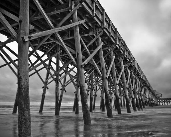 Folly Beach Poster featuring the photograph Folly Beach Pier Black And White by Dustin K Ryan