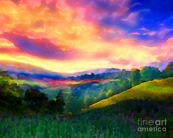 Sunset Poster featuring the painting Foothills by Mike Massengale