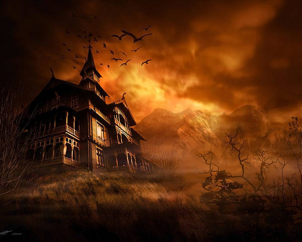 Abandoned Poster featuring the digital art Forbidden Mansion by Svetlana Sewell