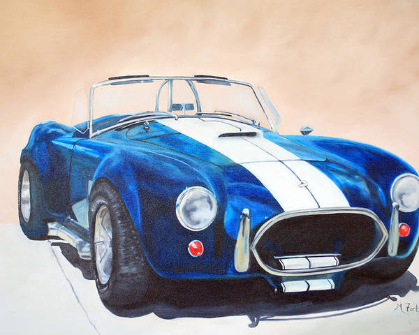 Car Poster featuring the painting Ford Cobra In Oil by Margaret Fortunato