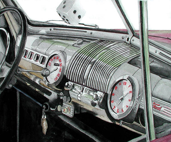 Car Poster featuring the painting Ford Dash by Ferrel Cordle
