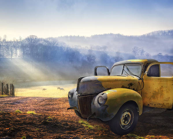 Appalachia Poster featuring the photograph Ford In The Fog by Debra and Dave Vanderlaan